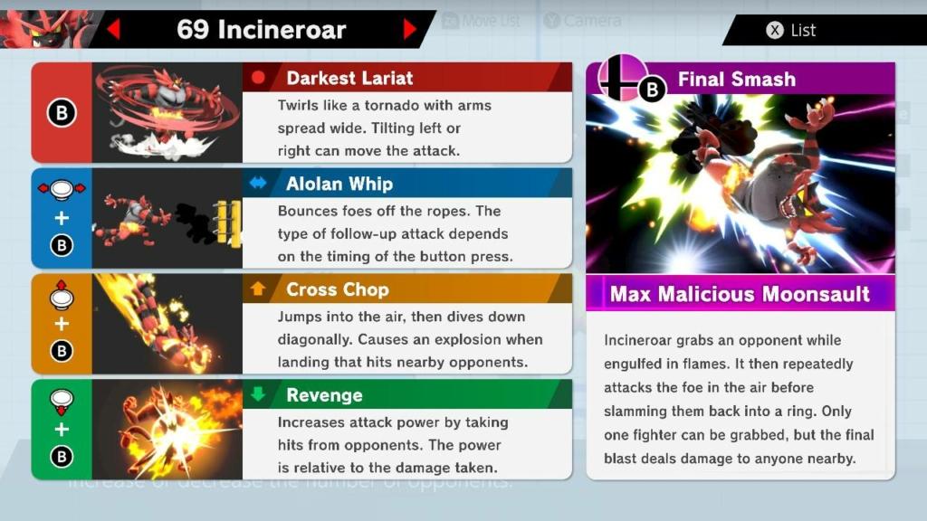 Incineroar Moves