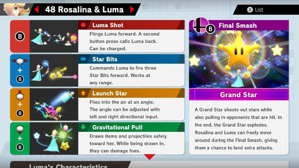 Rosalina Move List