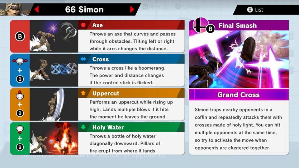 Simon Smash Ultimate Moves