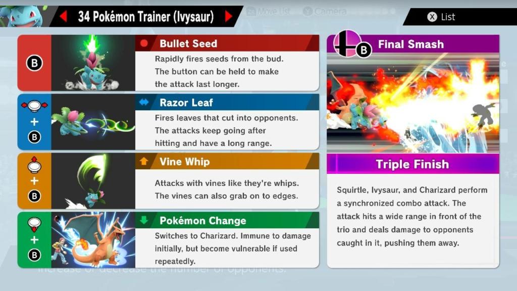 ivysaur moves smash ultimate