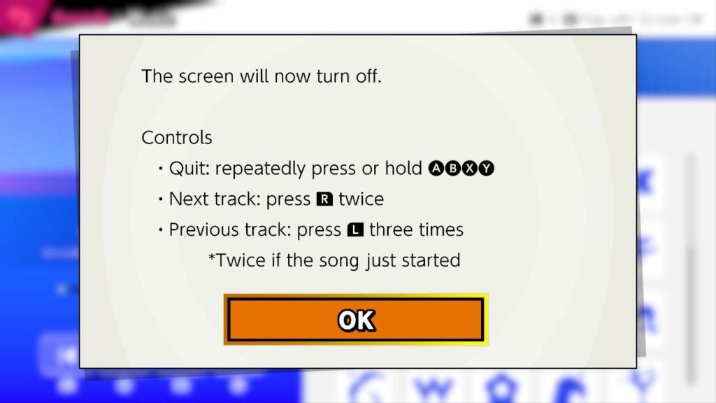 switch mp3 screen turn off