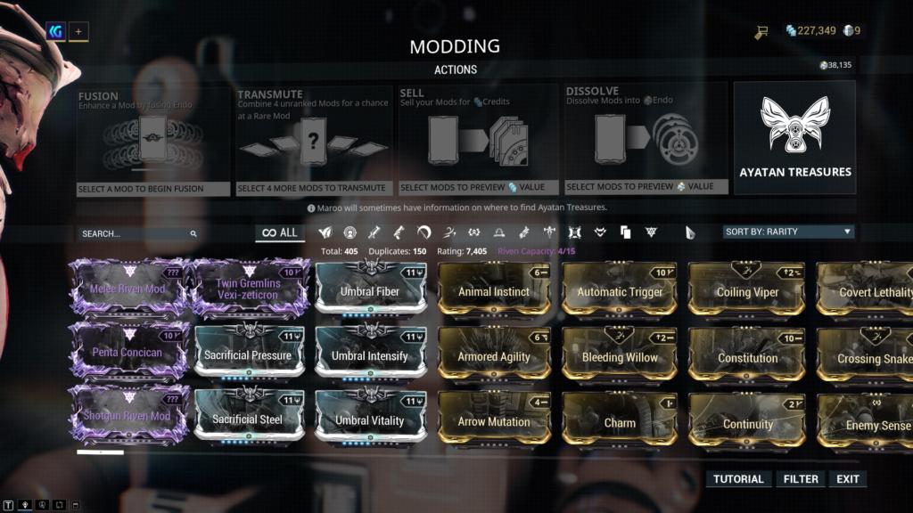Warframe Mods Screen