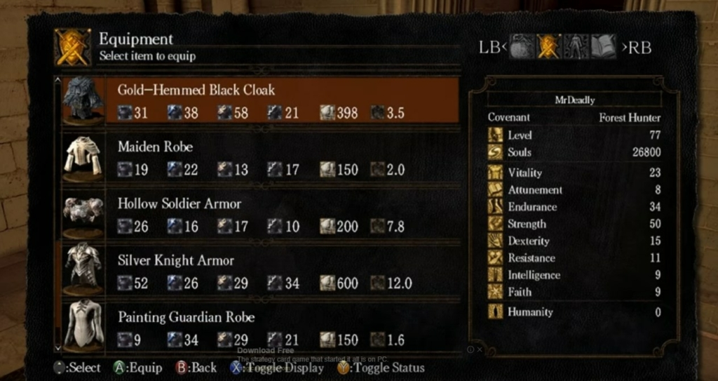 dark souls menu