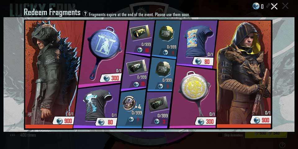 PUBG Mobile Godzilla coins