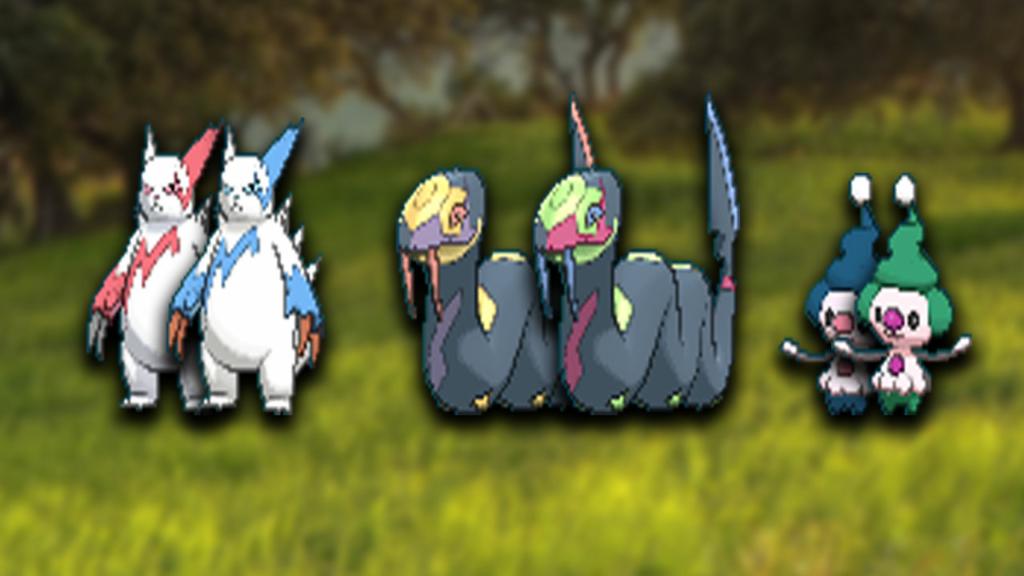 Shiny Zangoose, Seviper, and Mime Jr.