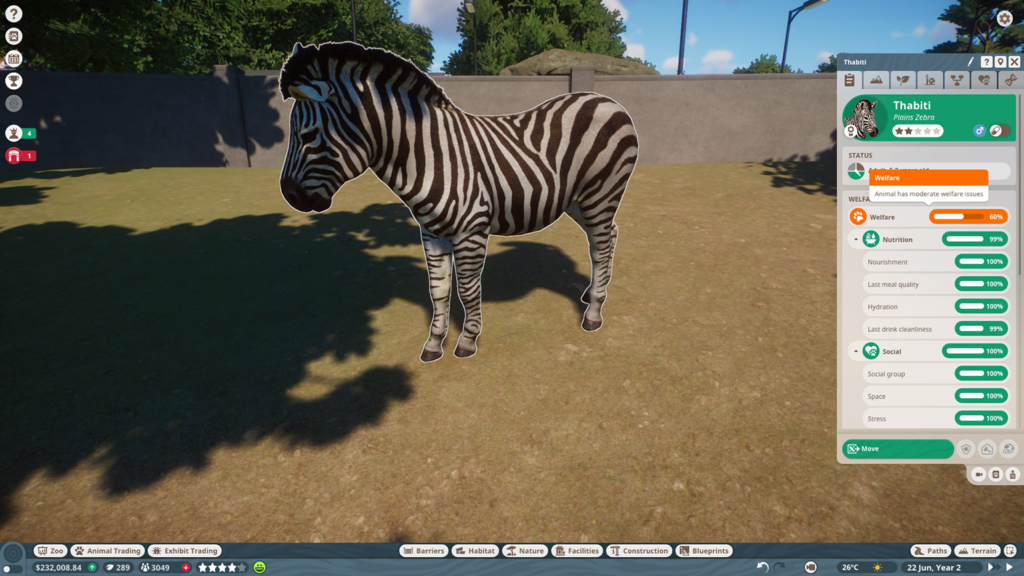 Planet Zoo Zebra with Info Panel