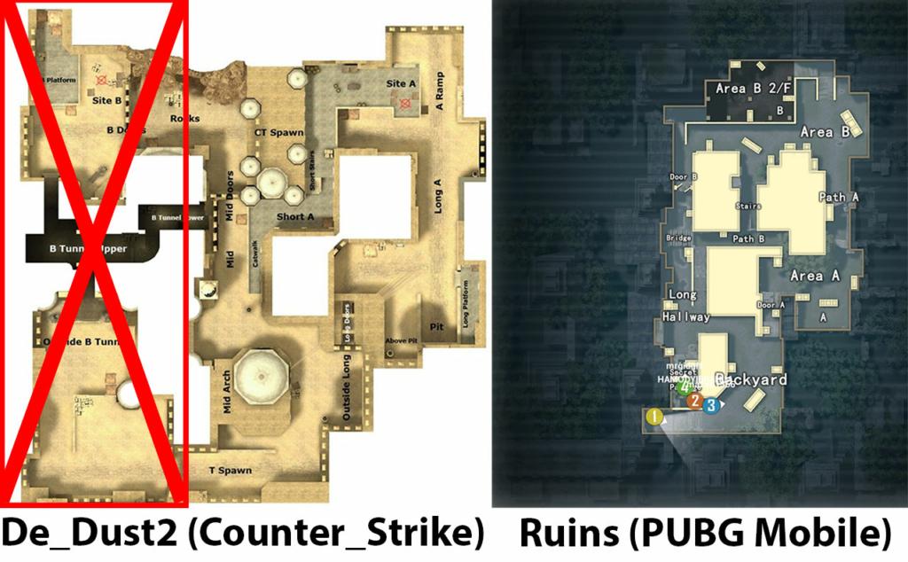 PUBG Mobile Ruins vs De_Dust2