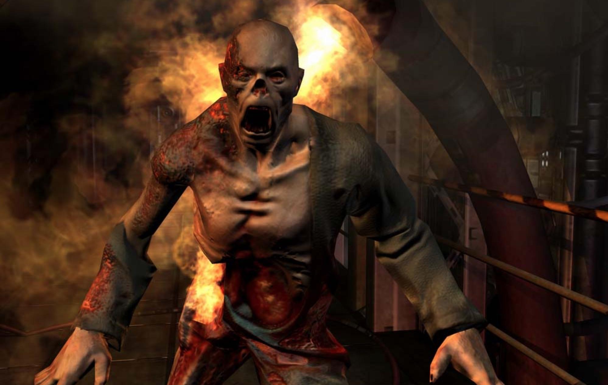 doom 3 zombie fire