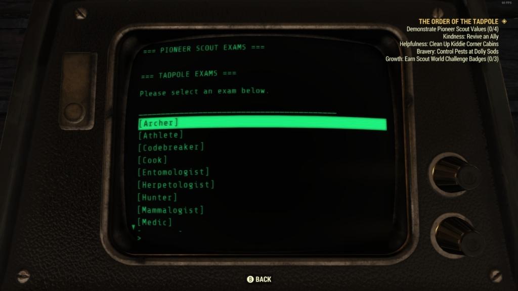 Fallout 76 Tadpole Exam Answers