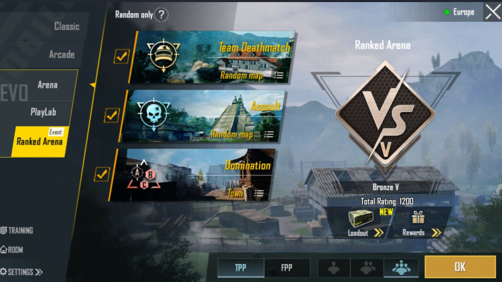 PUBG Mobile ranked arena options