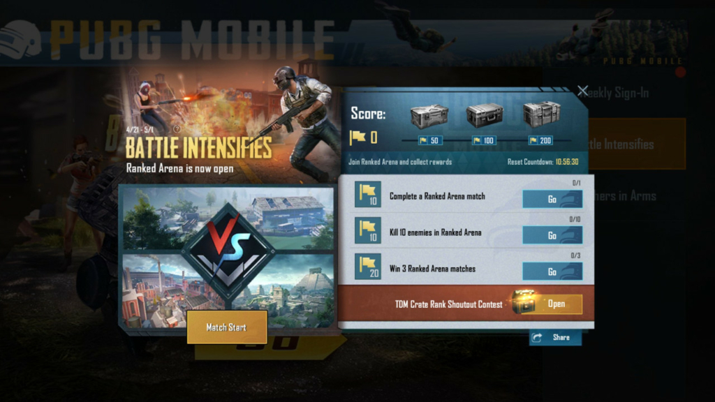 PUBG Mobile Ranked Arena rewards