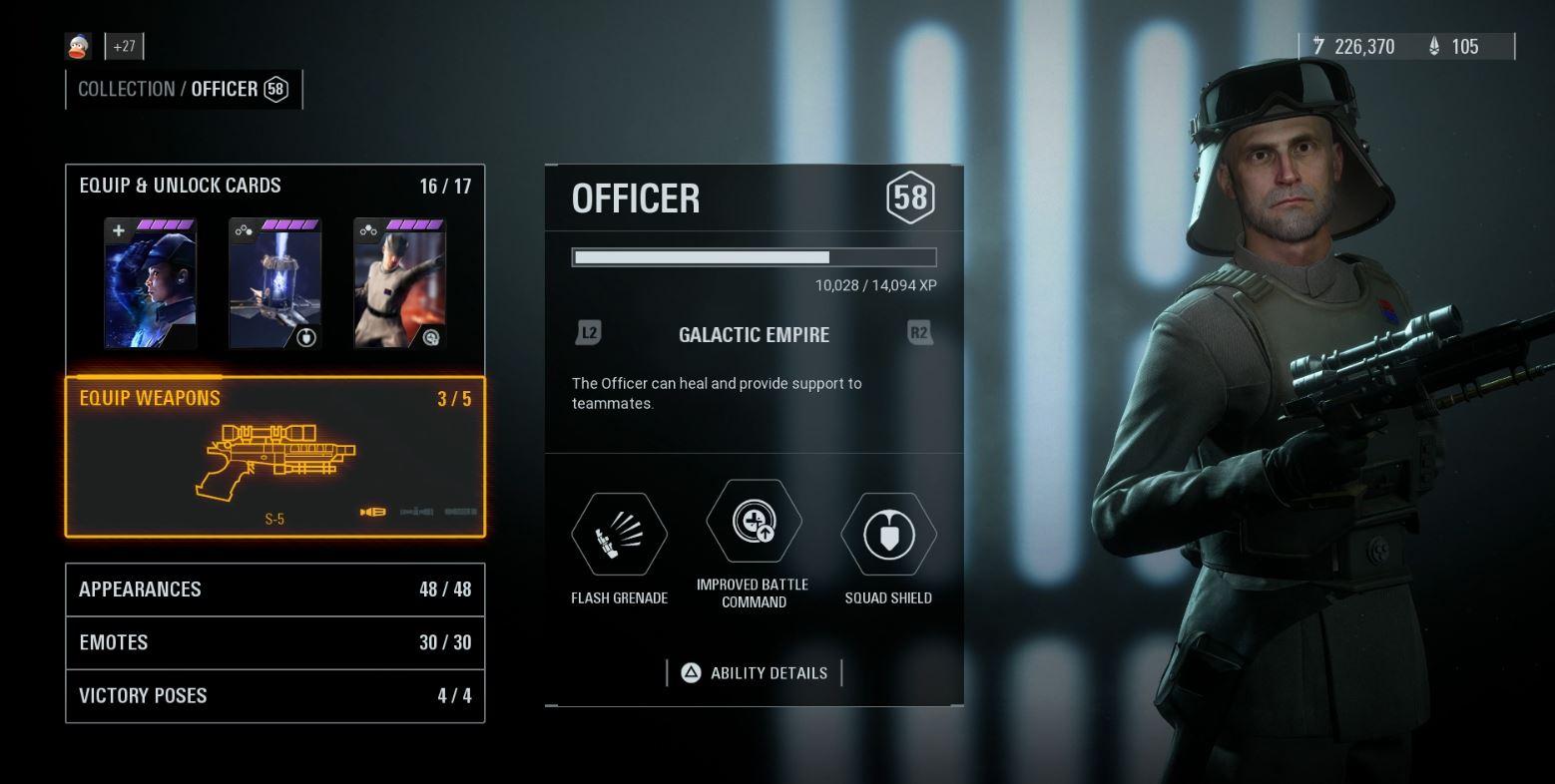 Battlefront 2 Best Officer Star cards