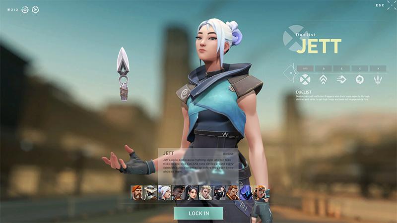 Jett Character Select Valorant