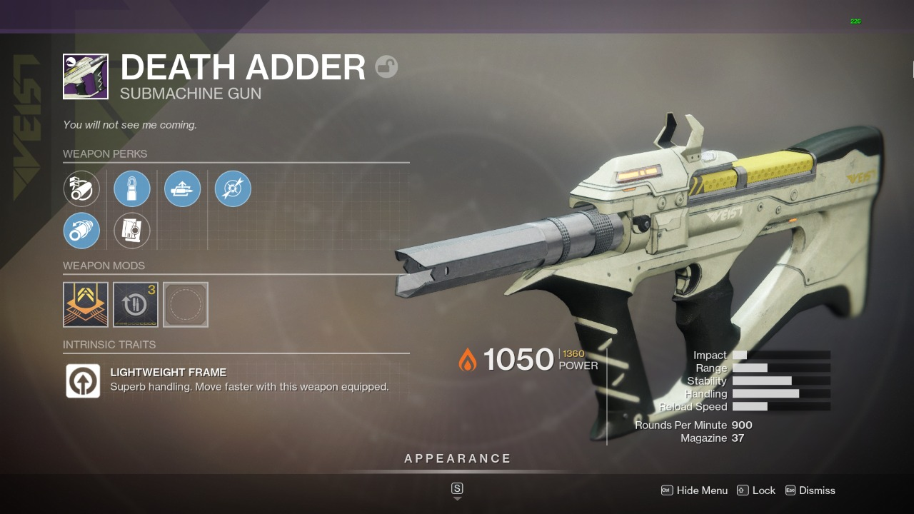 Destiny 2 Death Adder God Roll