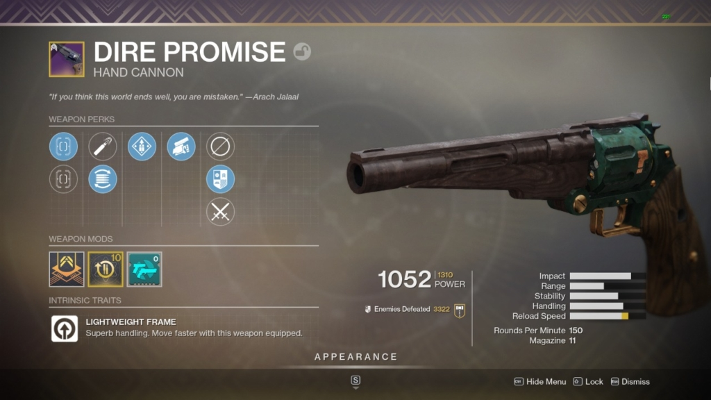 Destiny 2 Dire Promise God Roll