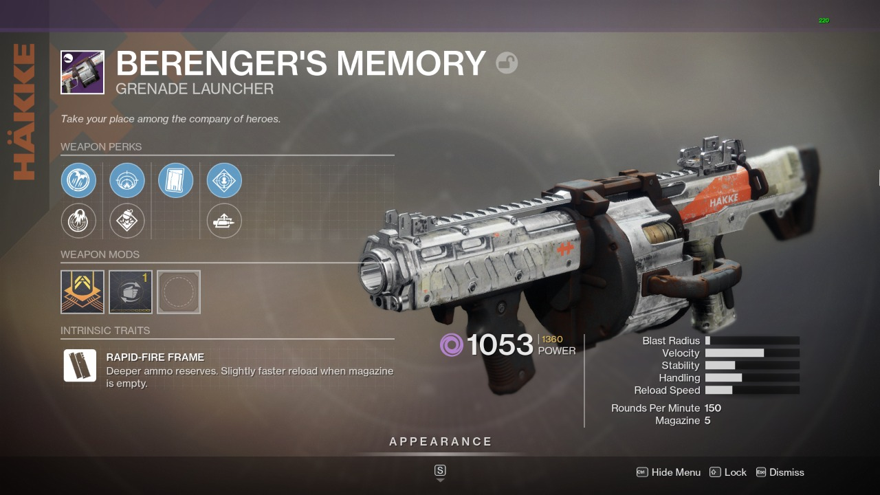 Destiny 2 Berengers Memory God Roll