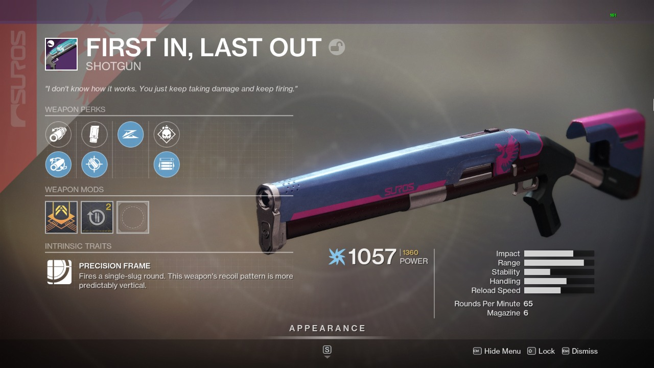 Destiny 2 First In Last Out God Roll