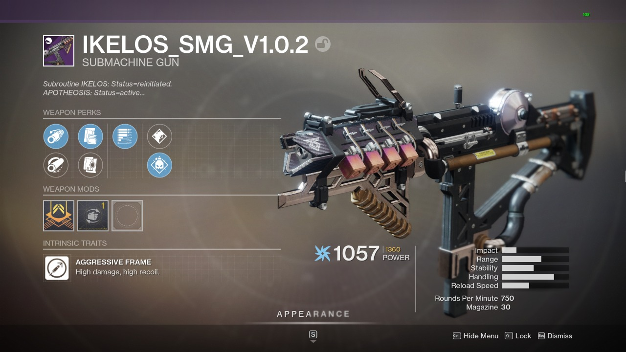 Destiny 2 Ikelos SMG God Roll
