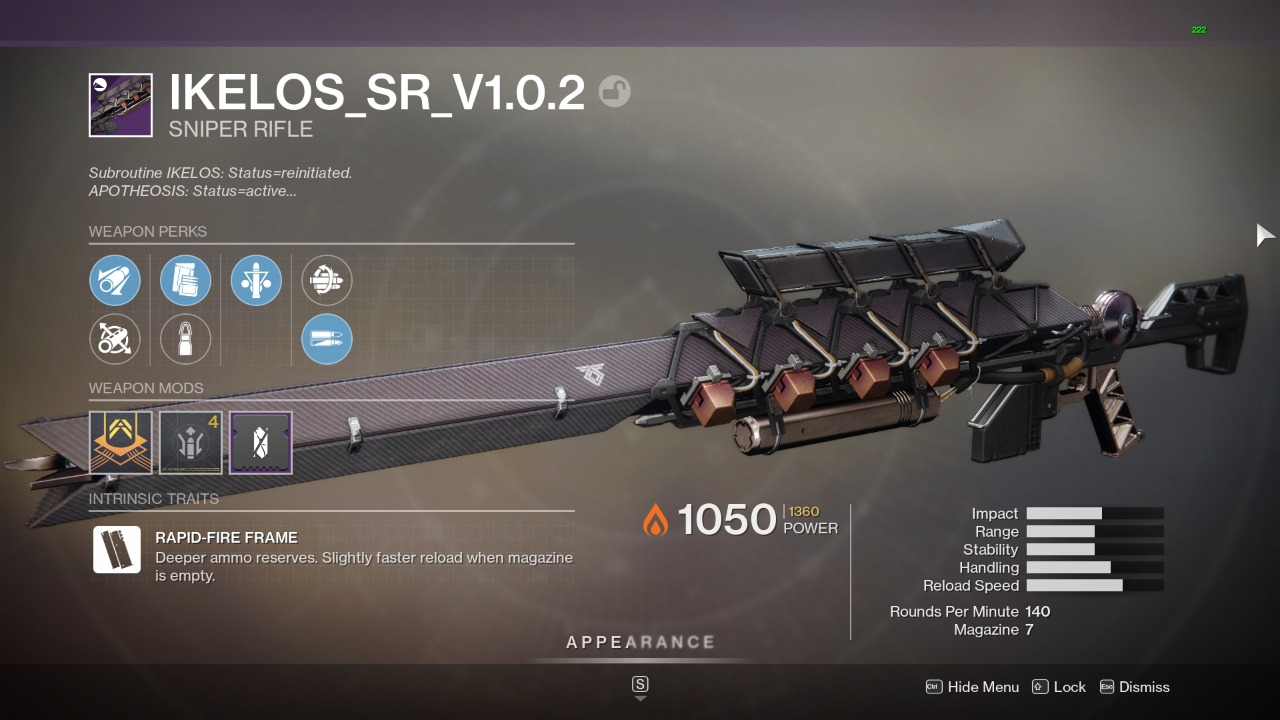 Destiny 2 Ikelos SR God Roll