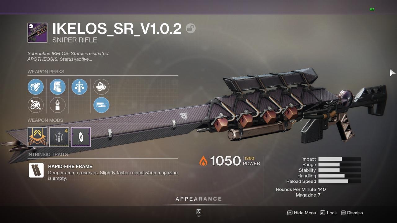 Destiny 2 Ikelos SR God Roll
