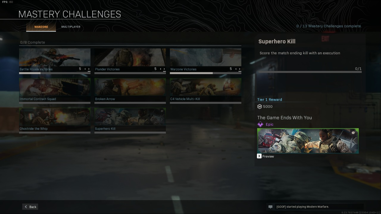 COD Warzone Mastery Challenges