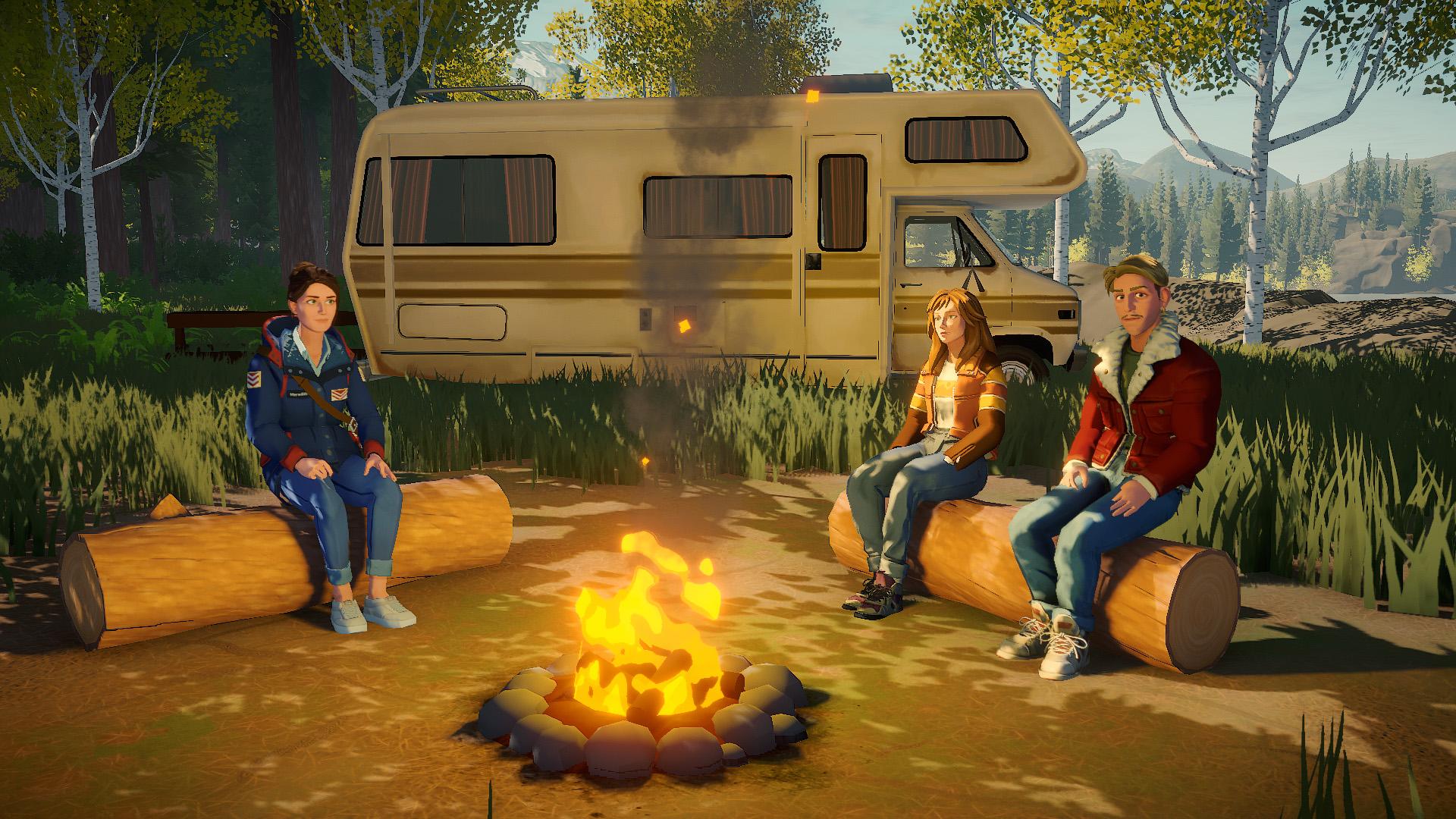 Lake people campfire