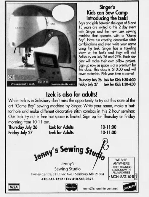 Game Boy Sewing Machine