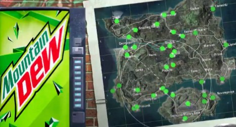 PUBG Mobile Mountain Dew locations