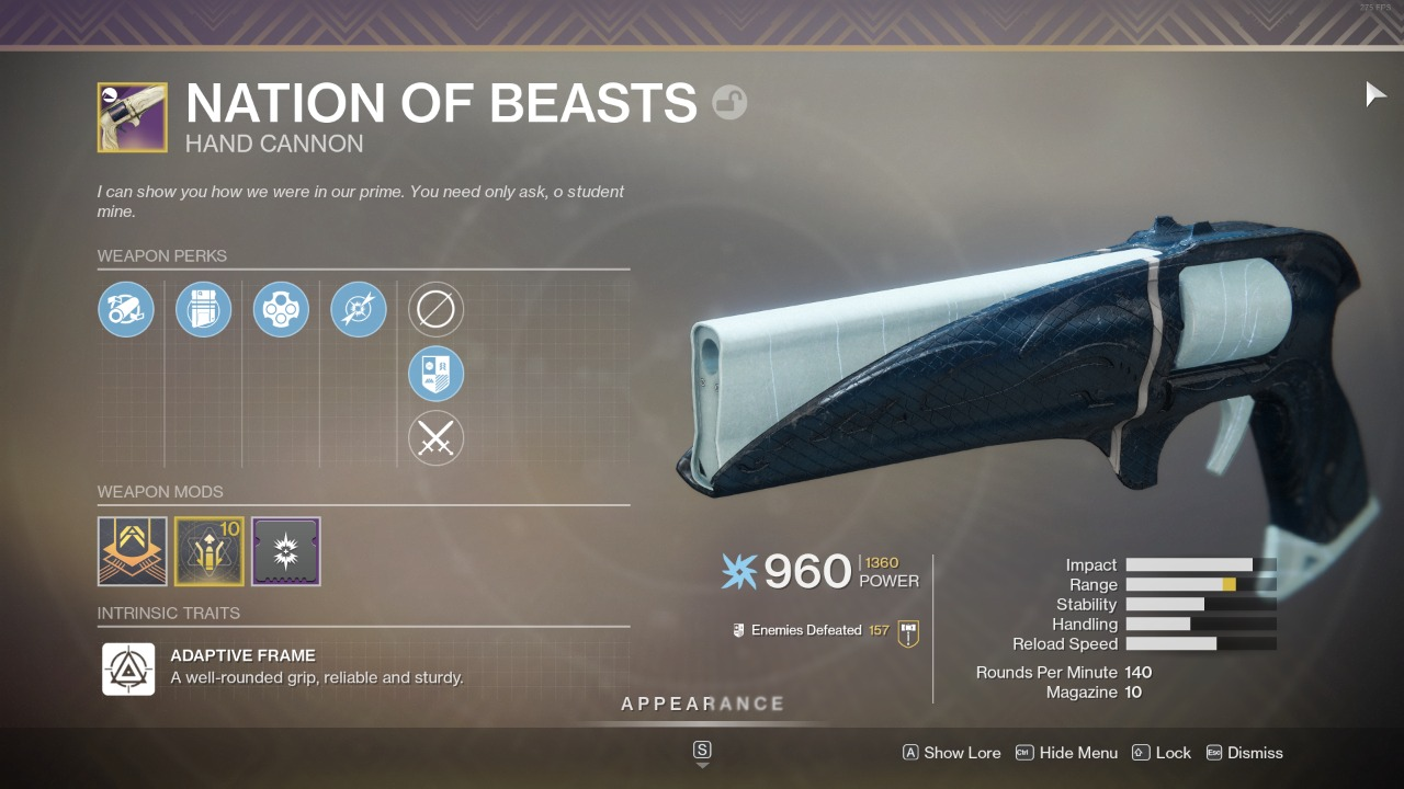 Destiny 2 Nation of Beasts God Roll