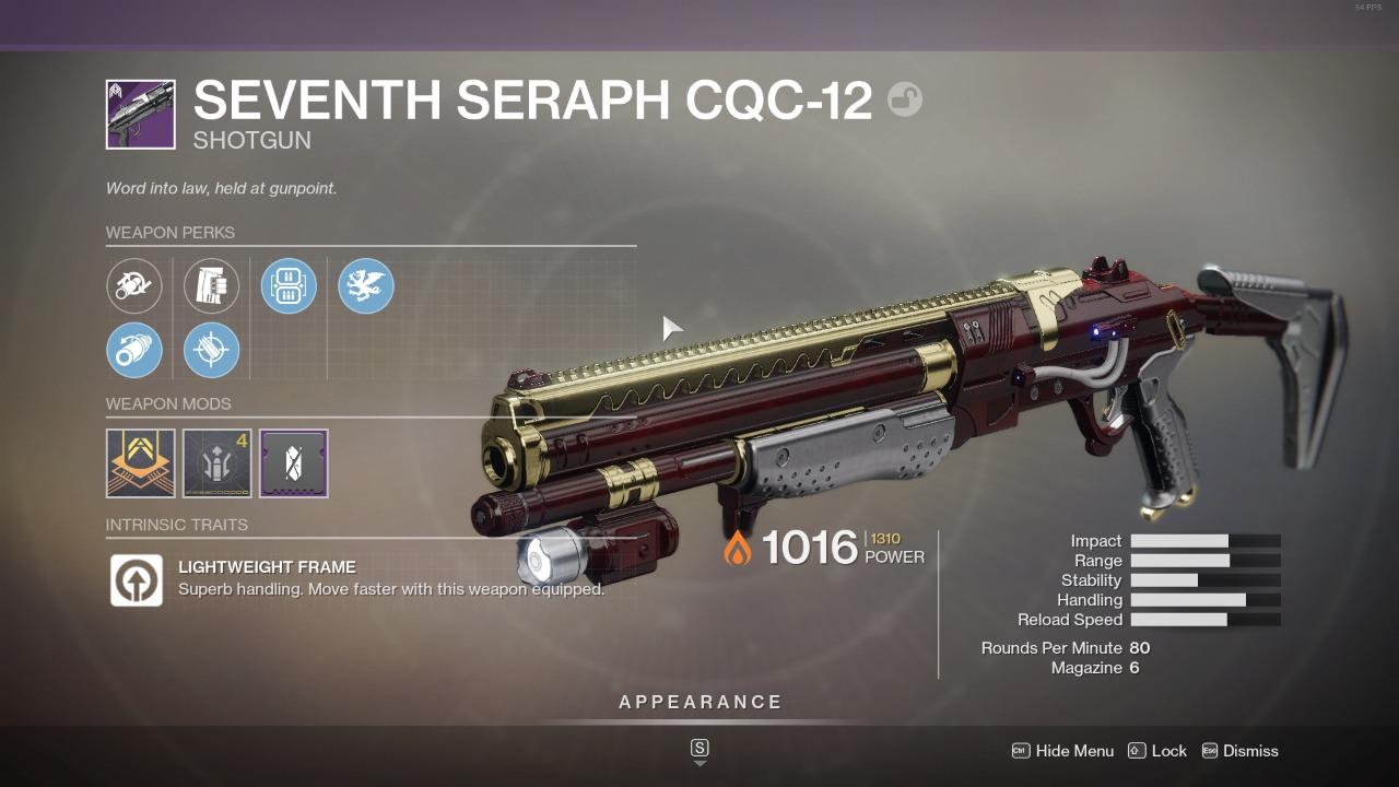 Destiny 2 Seventh Seraph CQC12 God Roll