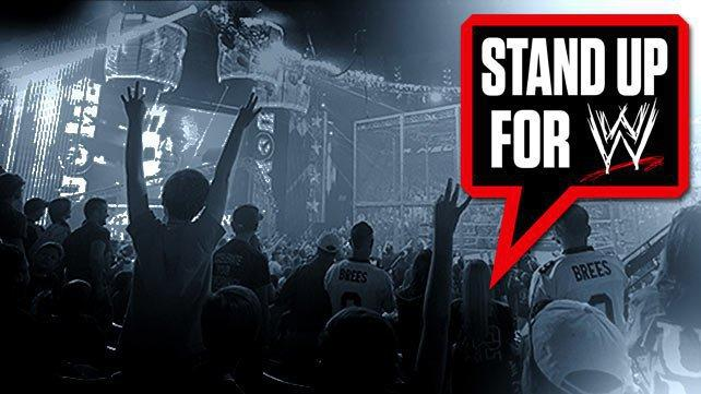 A muted photo of a WWE crowd circa 2012 with the Stand Up For WWE logo, those words in a red and black comic book speech bubble, superimposed upon it.