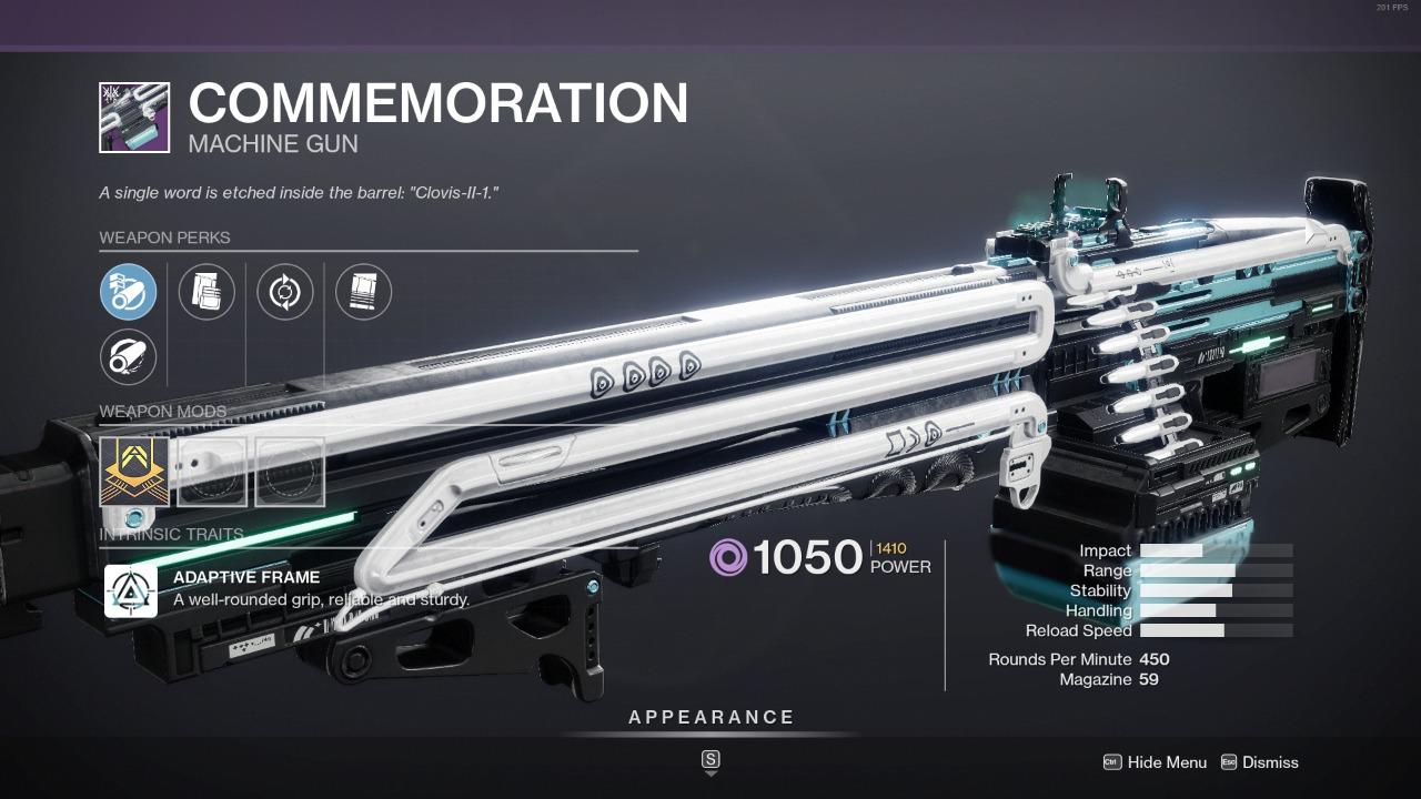 Destiny 2 Commemoration God Roll