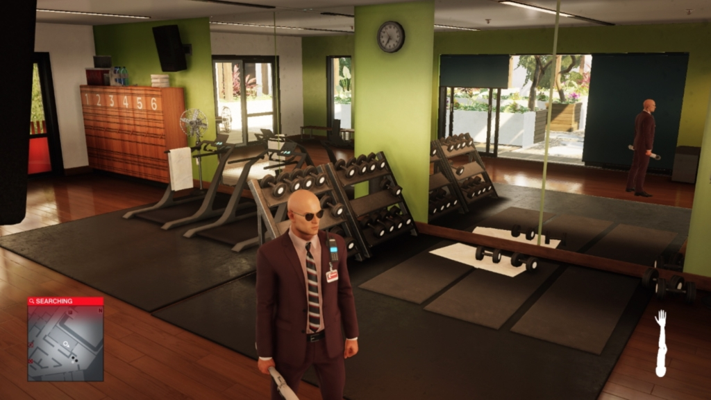 hitman 2 miami gym angkat beban treadmill