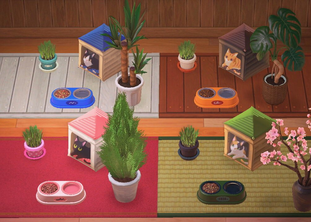 Image showing four of the different cat house designs with other pet item decorations. Codes are available in the article below.