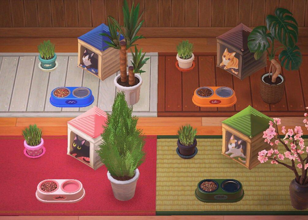 Gambar yang menunjukkan empat desain rumah kucing yang berbeda dengan dekorasi item hewan peliharaan lainnya.  Kode tersedia di artikel di bawah ini.