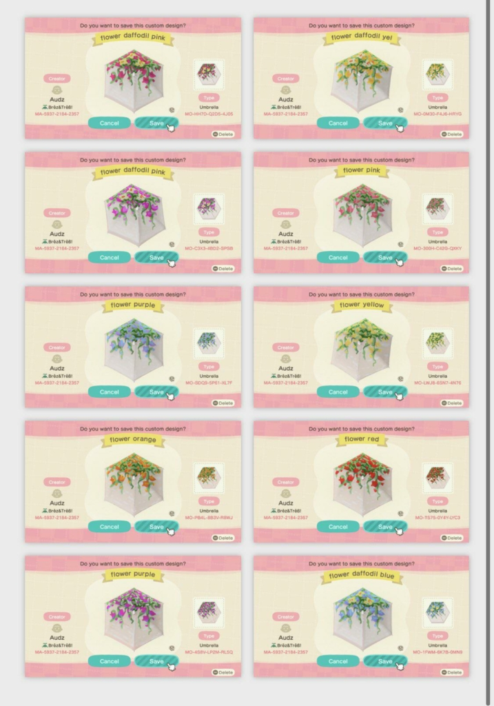 10 different flower designs with creator codes. Codes are available in the article below.