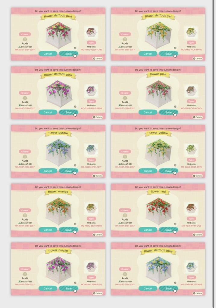 10 desain bunga berbeda dengan kode pencipta.  Kode tersedia di artikel di bawah ini.