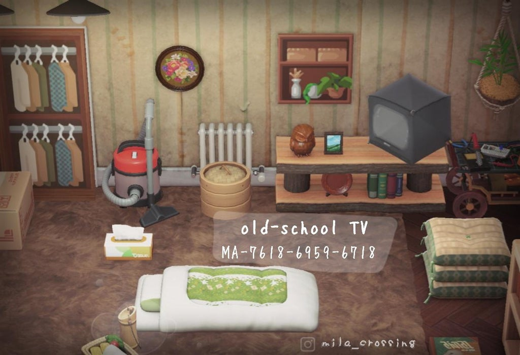 An older, rustic looking room with an umbrella on the shelf with a tube TV design. Codes are available in the article below.