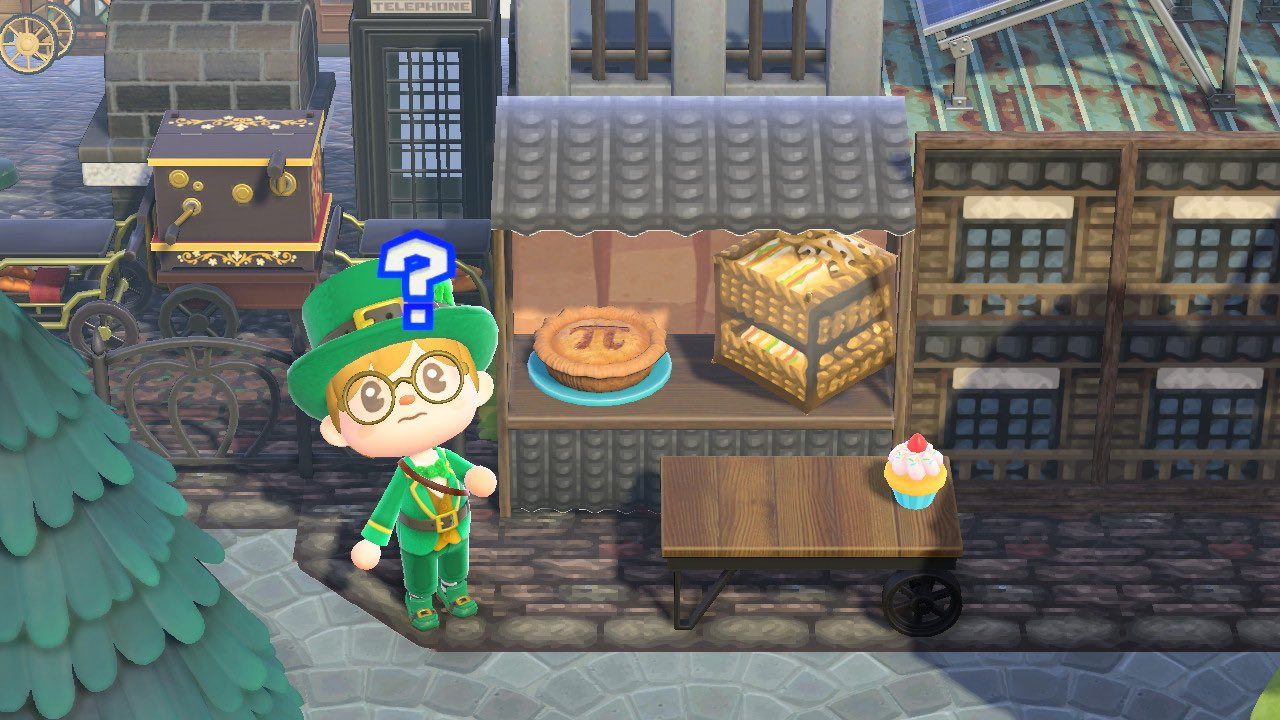 A villager uses the confused emote in front of a stall selling pie and other sweets