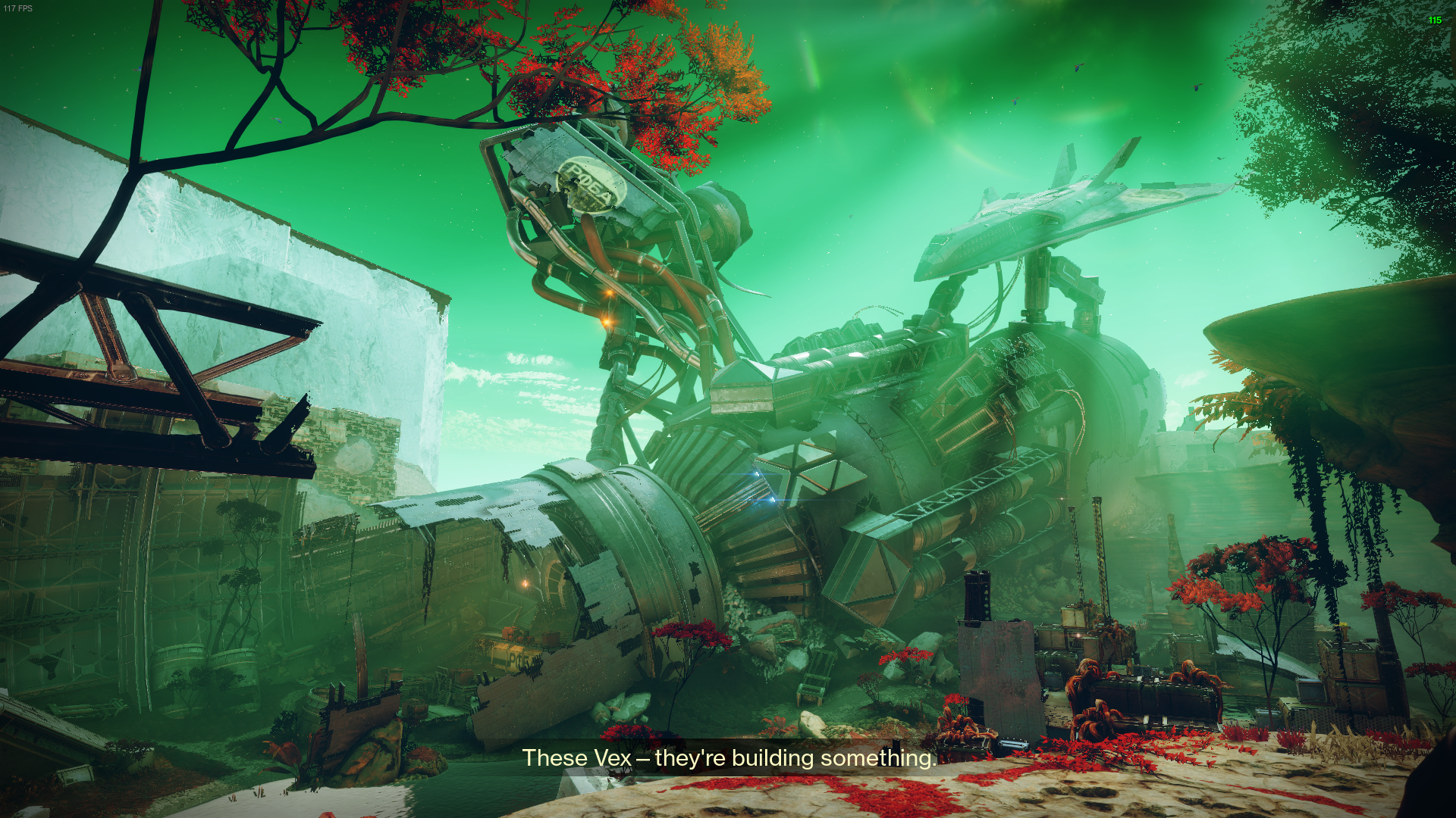 The crashed remains of Failsafe's ship bathed in green god rays, a spaceship still attached by three arms towards the back.