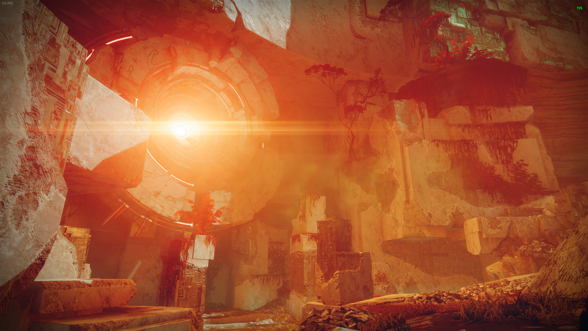 A blinding red and orange light shines from within a circle on a wall on Nessus causing a glare. Lots of nooks and crannies surround it.