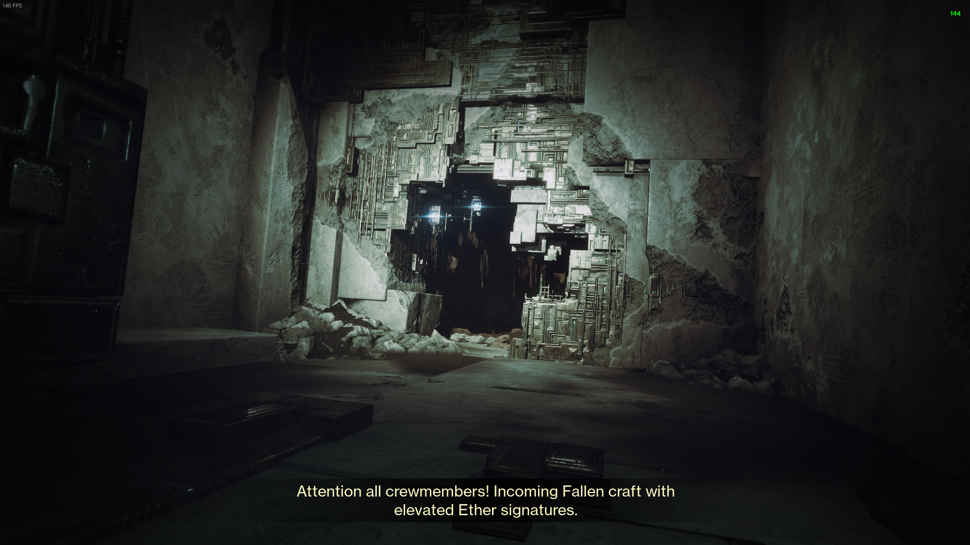 The entrance to a tunnel through a Vex wall. Intricate metal machinery full of jagged edges and other angular shapes encroach on the hole.