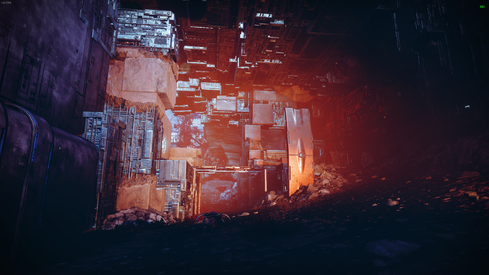 Vex walls and materials line all but the floor here. Jagged, square shapes jut out adding an incredibly amount of detail to what is just a ceiling.