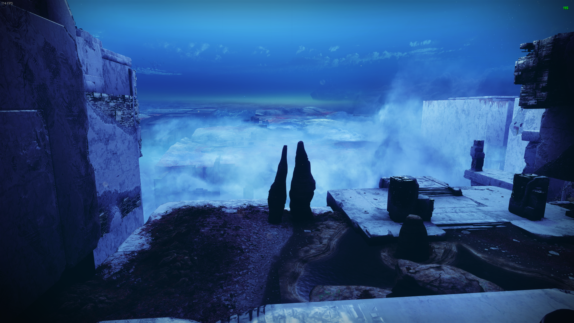 First person. Guardian overlooked a Nessus overhang complete with lake, rock outcroppings, and Vex structures.