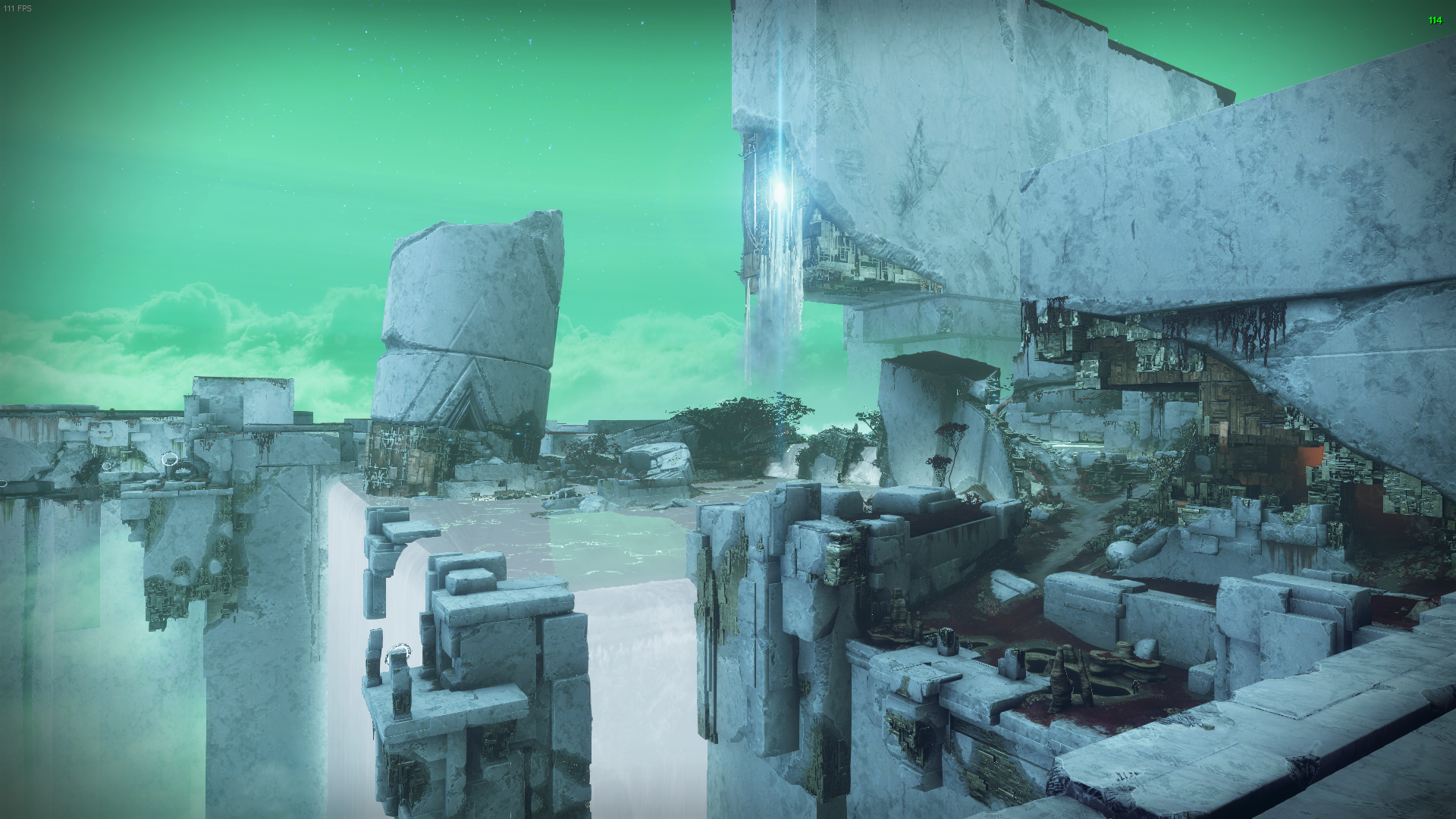 """A view from one of the Nessus spawn points complete with the Vex """"milk"""" waterfall, the crumbles Vex tower, and another Vex structure in the distance."""