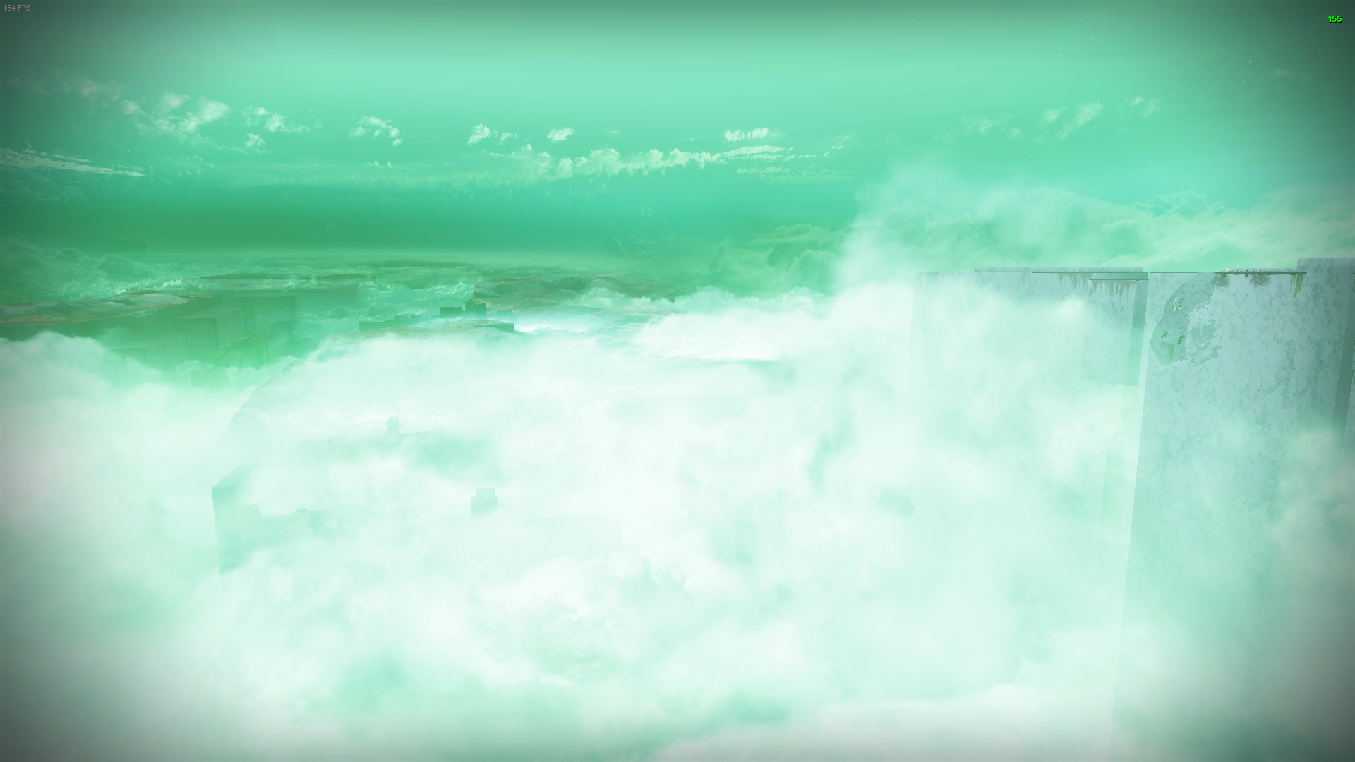 First person perspective of a Guardian overlooking a giant hole filled with clouds. The ground continues into the distance before dropping off.