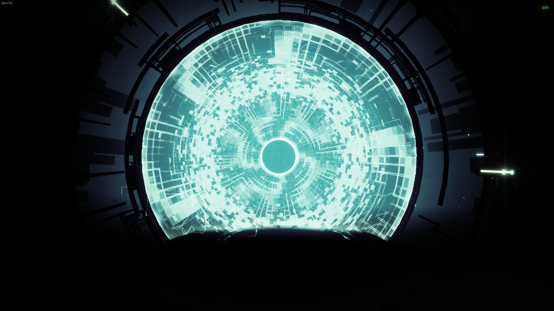 A Vex portal stands contrasted against a completely black background. The subtle glow highlighting the machinery around it. The pattern has changed since the last screenshot.