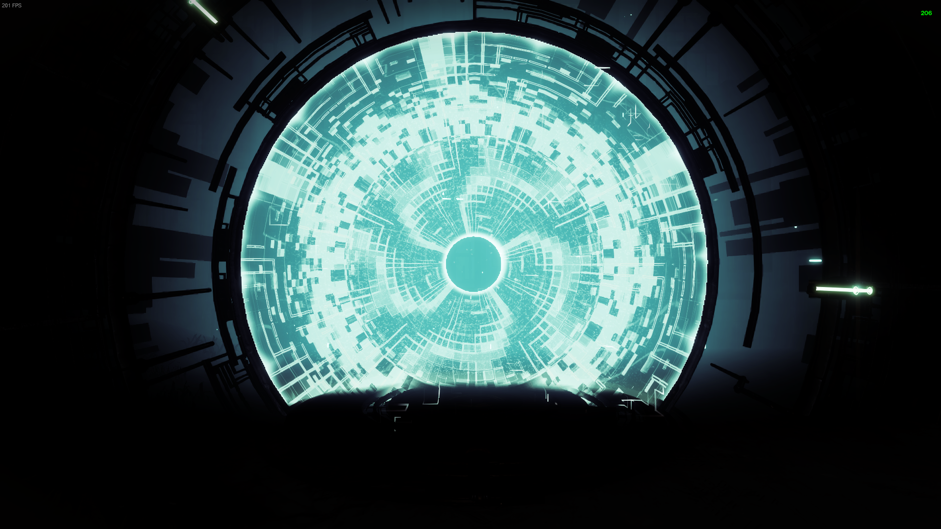 A Vex portal stands contrasted against a completely black background. The subtle glow highlighting the machinery around it.