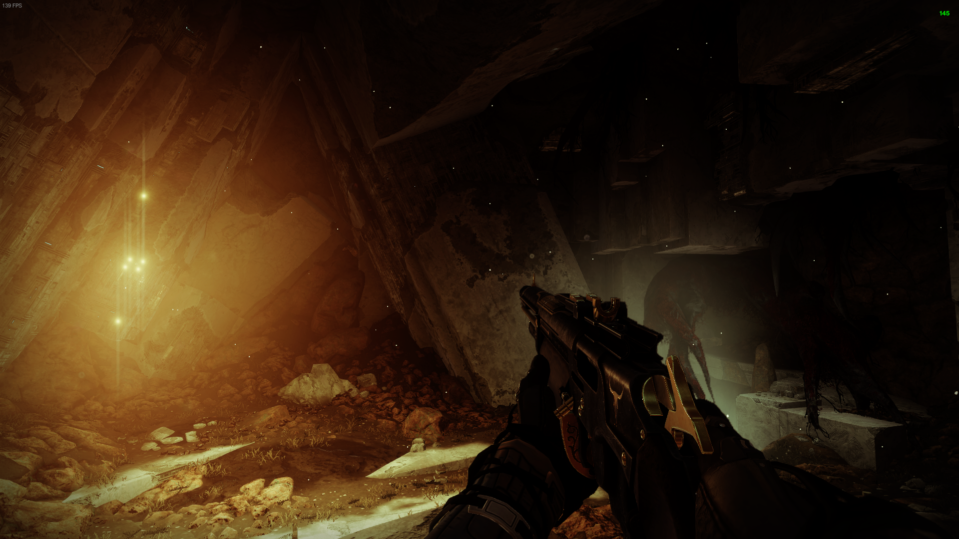 Motes of bright yellow dust cascade from the ceiling. A cluster of six lights in the wall shine bright enough to cause a glare, bathing the entire underground scene.