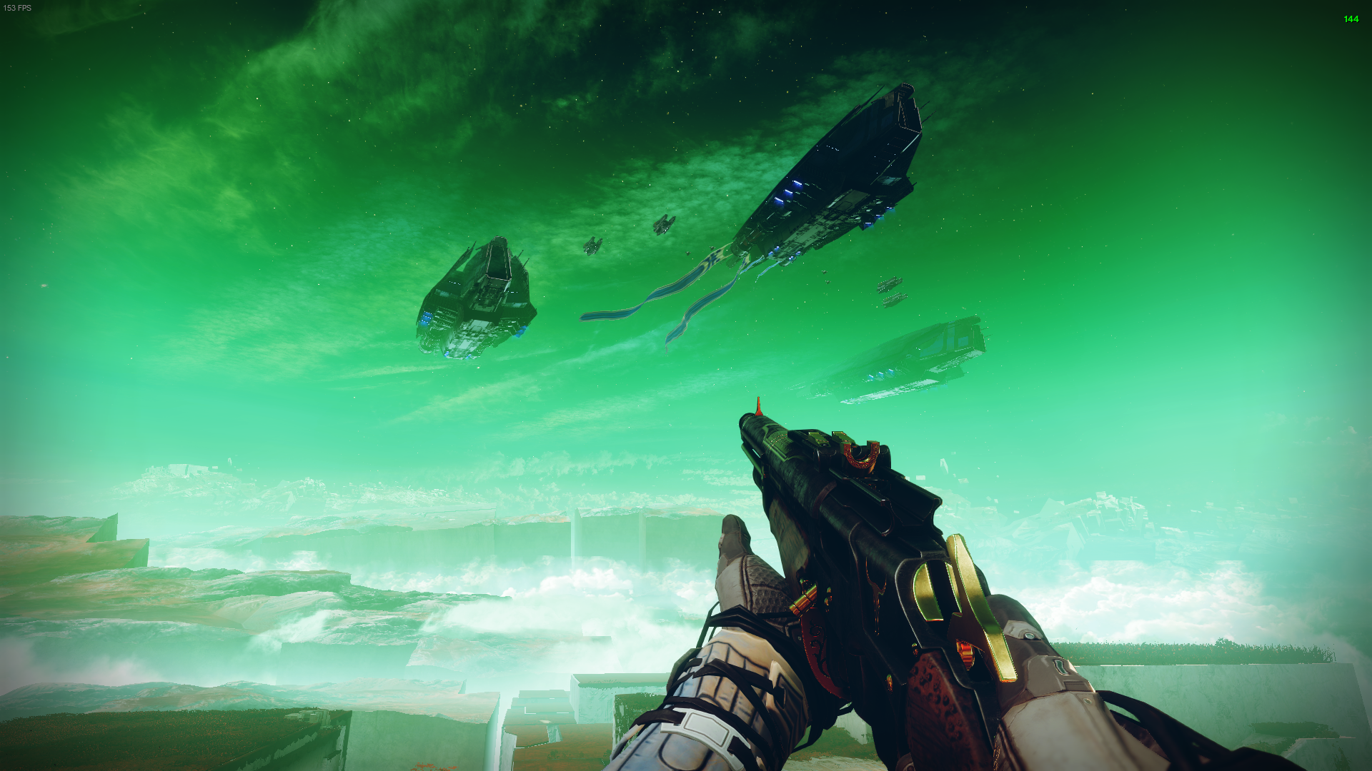 A Guardian looks up at Caitl's ships floating in the atmosphere of Nessus. The ground is cracked and jagged, filled with clouds, ruined by Calus' planet eating ship.